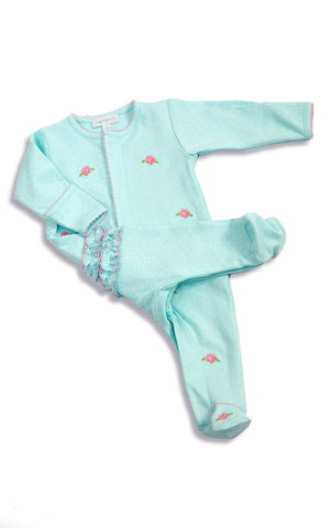 Magnolia Baby Teal Footie Gown