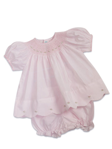 Feltman Smocked Baby Dress with Scalloped Hem and Panty