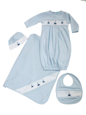 Feltman Bros Sailboats for the Baby Boy 4 Pc. Layette