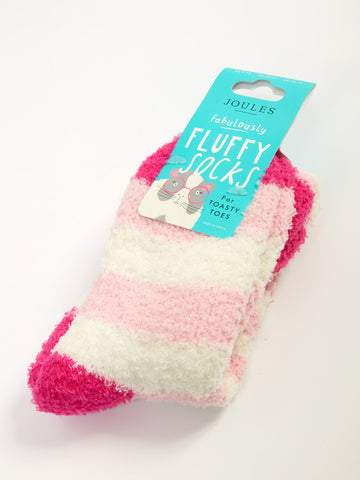 Joules Fluffy Socks in Navy, Pink and Blue
