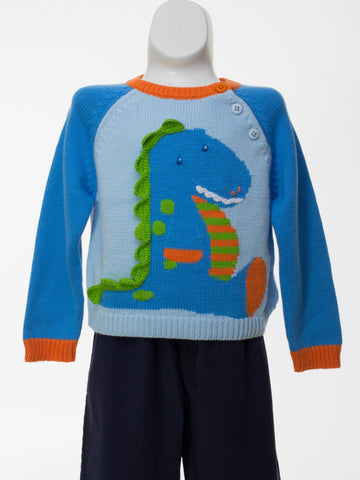 Dinosaur Sweater in Shades of Blue