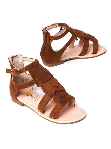 Fashionable Flick Fringe Sandal in Tan