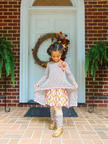Sweater Dress Set in Mocha Tweed