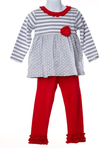 Grey Stripes and Dots Set with Red Ruffle Leggings