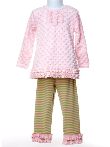 A Petal Pinky Minky Set with Ruffled pink & green leggings