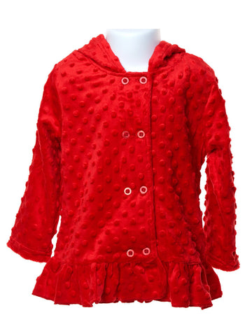 Roasty-Toasty Red Minky Girls Hooded Jacket