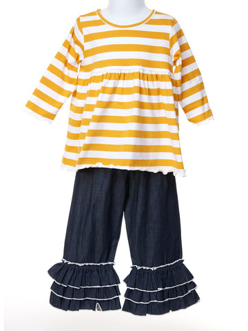 Dark Gold Stripe Top with Chambray Ruffle Pant