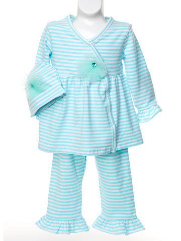 Candy Colored Mint Stripe Set with Matching Hat