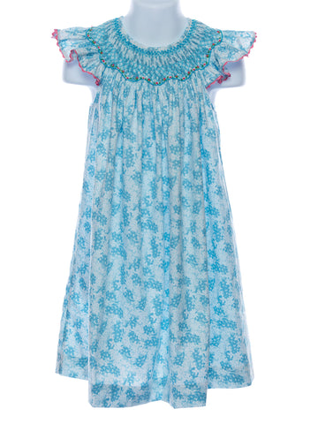 Mom & Me Girls Smocked Bishop Teal Print Dress