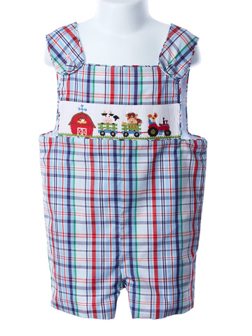 Zuccini Smocked Farm Boy Plaid Shortall
