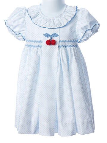 Zuccini Smocked Waist Blue Dot Dress