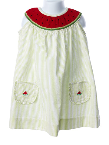 Zuccini Girl's Smocked Watermelon Bishop Dress