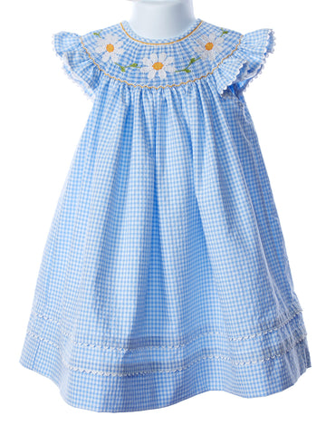 Anavini  Smocked Flowers Angel Wing Bishop