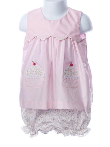 Zuccini Baby Girl Bib Dress w. Appliquéd Cupcakes