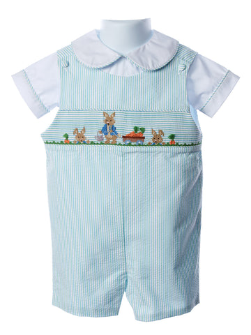 Zuccini Baby Boy Smocked Bunny Shortall and Shirt