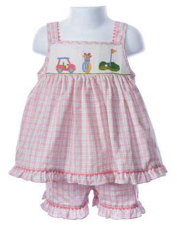 Anavini Smocked Girl's Golf Short Set