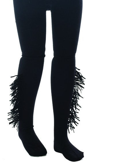 Fringed Tights in Black