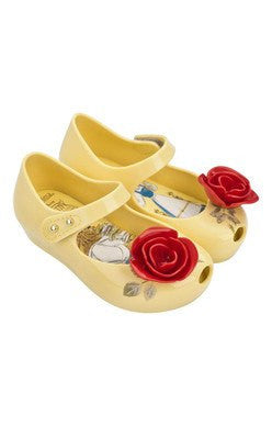 Yellow Belle Shoes with Red Rose