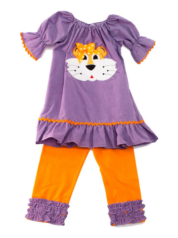 Banana Split Purple Dress and Legging Set with Appliquéd Tiger