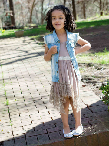 Kids Taupe Lace Tank Dress