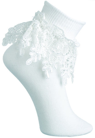 White Sock with Venetian Lace Trim