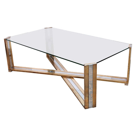 Pair of Italian Brass and Chrome Coffee Tables by Romeo Rega