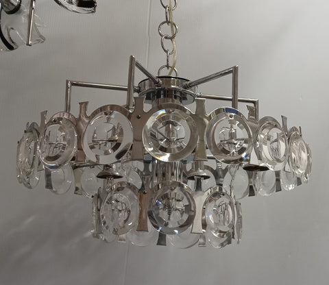 Sciolari Chrome and Crystal Chandelier