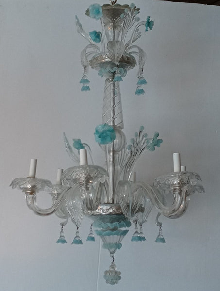 Sky Blue and Clear Venetian Glass Chandelier Circa 1940