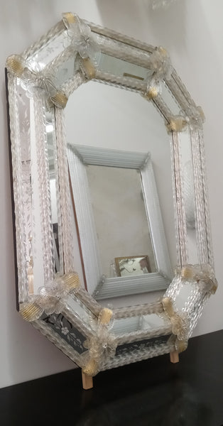 Gold and Clear Venetian Glass Mirror