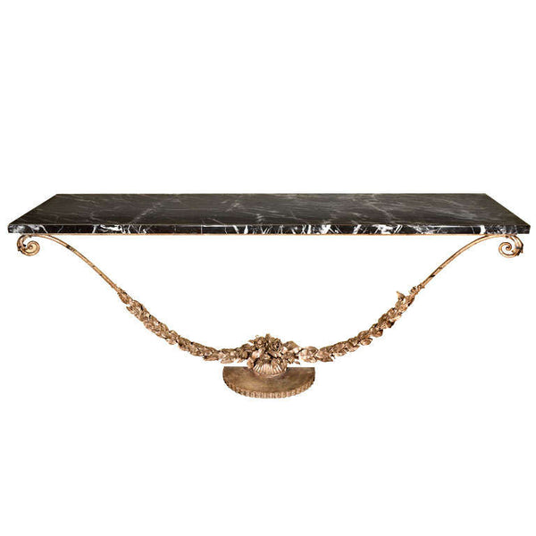French Art Deco White Gold Gilded Iron Console with Marble Top