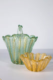 Green Murano Baroiver Basket with Infused Gold circa 1940's