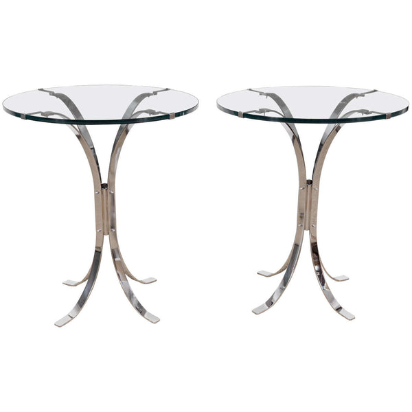 Pair of French Chrome & Glass Tables attributed to Maison Jansen