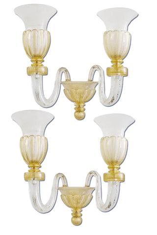 Pair of Gold ,Clear and White Murano Sconces by Venini c. 1930's