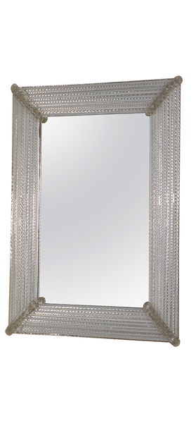Venetian Glass Mirror composed of reeded & white latticino glass Italy, 1970s