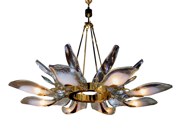 Custom Murano Glass & Brass Chandelier