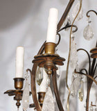 French Bronze & Rock Crystal Chandelier