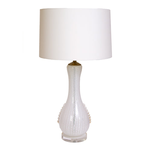 White Latticino Murano Table Lamp