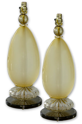 Pair of Murano Glass Melon Lamps c. 1970