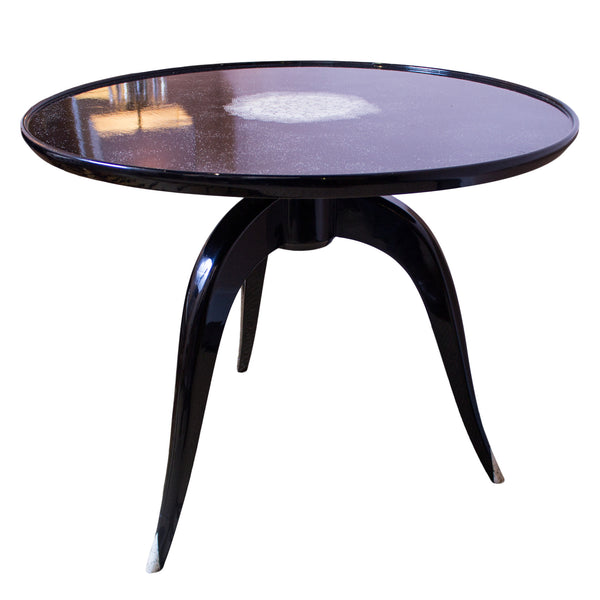 French Art Deco Style Black Lacquer & Eggshell Table