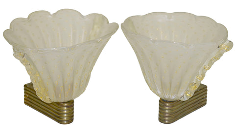 Pair of Opaline and Gold Sconces c. 1950