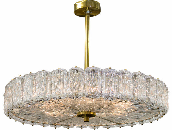 Murano Drum Chandelier with Brass Mounts c. 1970