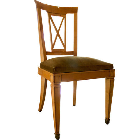 Set of 8 French Directoire Revival Side Chairs in Cherry
