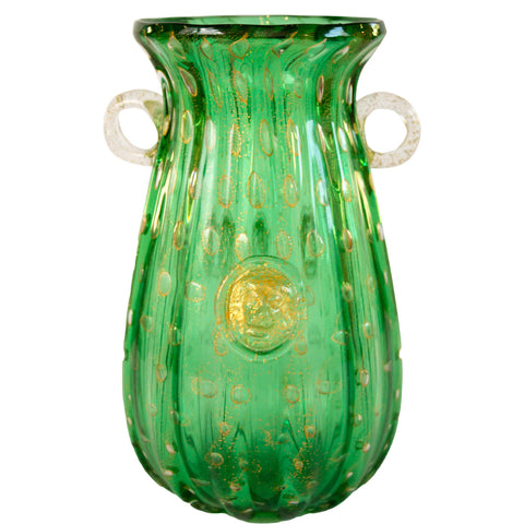 Green Murano Vase with Gold Inclusions