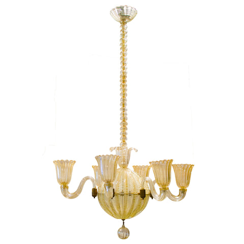 Gold Murano Chandelier by Barovier