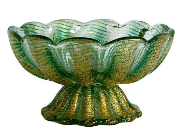 Green Maruno Glass Bowl with Gold Infused by Barovier c. 1950