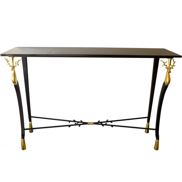 Pair of French 1940's Style Gilt Iron Consoles with Belgian Black Marble Tops