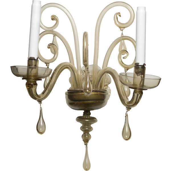 Pair of Amber Murano Sconces attributed to Seguso