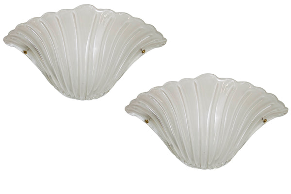 Pair of Shell Formed Murano Glass Sconces c. 1970