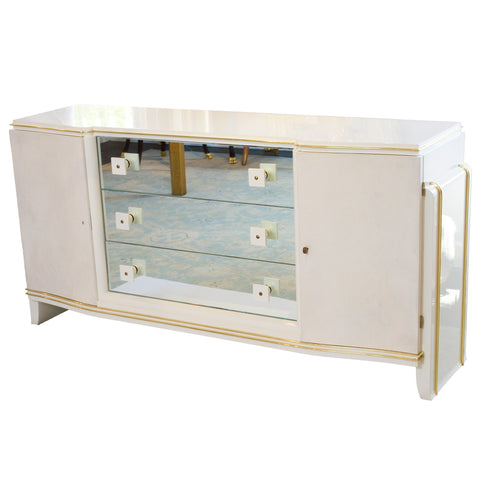 French Parchment & White Lacquer Dresser with Brass Inlays