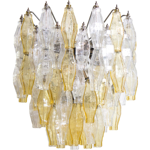 Amber & Clear Polyhedral Murano Glass Chandelier